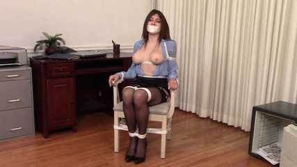 Sexy Secretary Bound - Phone Attempt and Tipped Chair - Agatha Delicious
