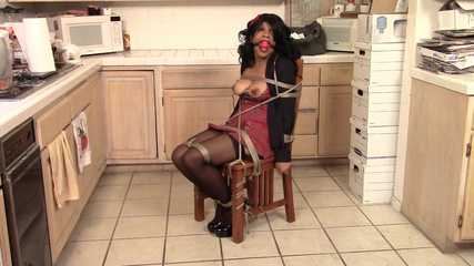 Tied in Schoolgirl Dress and Ballgagged to Keep Quiet - Cupcake Sinclair roped