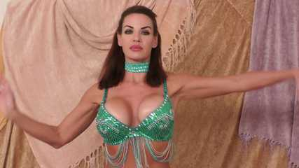 Harem Beauty Dances in Emerald Green Costume - Alexis Taylor