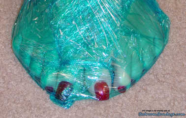 Blue Mood - Alexis Taylor in Plastic-Wrap Mummification