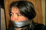 FIRST GRADE LATINA SCHOOL TEACHER IS WRAP GAGGED WITH SEMI CLEAR BROWN PACKAGING TAPE, BLACK ELECTRICAL TAPE, SILVER DUCT TAPE & MOUTH STUFFED WITH RAG (D69-4) 3