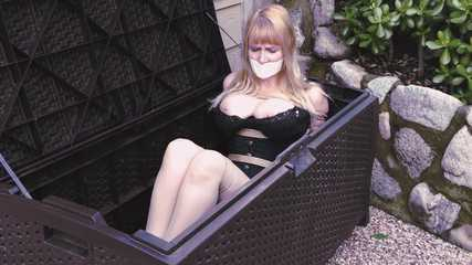 Box Bondage - Big-Boobed Babe Bound in Silky Slip Outdoors