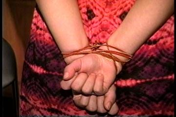 34 YR OLD STAY AT HOME MOM GETS HANDGAGGED, MOUTH STUFFED, HAND FEET & TOE TIED, CLEAVE GAGGED AND TIED TO A CHAIR (D70-5)