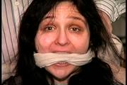 34 YR OLD STAY AT HOME MOM GETS HANDGAGGED, MOUTH STUFFED, HAND FEET & TOE TIED, CLEAVE GAGGED AND TIED TO A CHAIR (D70-5) 1
