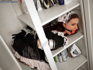 Closet Maid Claire Adams - Ballgagged and Roped